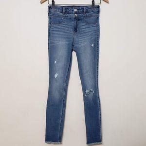 Hollister Frayed Hem Distressed Skinny Jeans sz 25